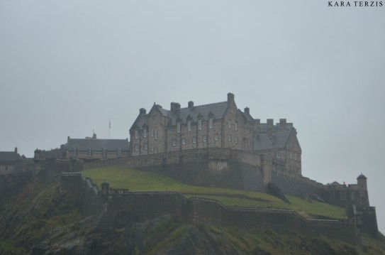 View of Edinburgh Castle from one of the lower streets.